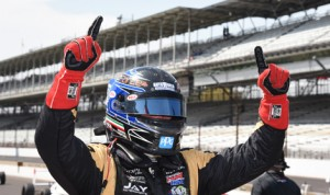 Adrian Starrantino celebrates after winning his first USF2000 Championship event Saturday at Indianapolis Motor Speedway. (Al Steinberg Photo)