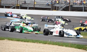 Scott Hargrove (3) leads the Pro Mazda Championship Series field during Saturday's event at Indianapolis Motor Speedway. (Al Steinberg Photo)