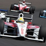 Luiz Razia (5) leads early during the Indy Lights Freedom 100 at Indianapolis Motor Speedway. (Al Steinberg Photo)