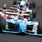 Matthew Brabham (83) leads the Indy Lights field during the Freedom 100 at Indianapolis Motor Speedway. (Al Steinberg Photo)