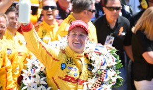 Ryan Hunter-Reay celebrates after winning the 98th running of the Indianapolis 500. (Al Steinberg Photo)
