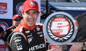 Helio Castroneves has earned the pole for Saturday's first Verizon IndyCar Series race at Belle Isle Park in Detroit, Mich. (Al Steinberg Photo)