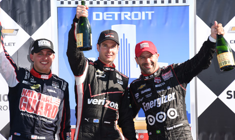 Will Power (center), Graham Rahal (left) and Tony Kanaan were the top three finishes in the first race of the Chevrolet Indy Dual in Detroit. (Al Steinberg Photo)