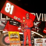 Lee Jacobs in victory lane after winning his first UNOH All Star Circuit of Champions event Friday at Lernerville Speedway. (Hein Brothers Photo)