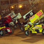 Trey Gustin (80), Jared Zimbardi (35), Dale Blaney (14k) and Dean Jacobs during Friday's UNOH All Star Circuit of Champions feature at Lernerville Speedway. (Hein Brothers Photo)