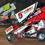 Adam Kekich (5), Brad Howard (49H) and Dennis Wagner (38) during Friday's UNOH All Star Circuit of Champions event at Lernerville Speedway. (Hein Brothers Photo)