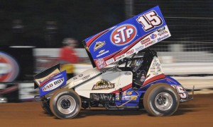 Donny Schatz, shown at Williams Grove Speedway, won Monday's World of Outlaws race at Lawrenceburg Speedway. (Dennis Bicksler Photo)