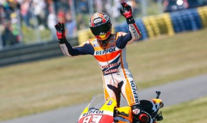 Marc Marquez celebrates after yet another MotoGP victory Sunday in Le Mans, France. (MotoGP Photo)