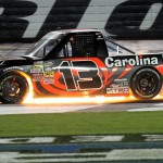 Jeb Burton's Toyota catches fire after a last-lap crash during Friday's NASCAR Camping World Truck Series race at Charlotte Motor Speedway. (NASCAR Photo)