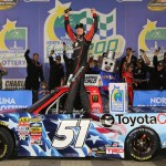 Kyle Busch celebrates his victory in Friday's NASCAR Camping World Truck Series race at Charlotte Motor Speedway. (NASCAR Photo)