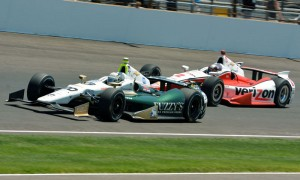 Ed Carpenter (20) battles alongside Juan Pablo Montoya during the Indianapolis 500 at Indianapolis Motor Speedway. (Dave Heithaus Photo)