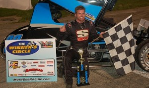 Troy DeCaire in victory lane Wednesday night at Anderson (Ind.) Speedway.