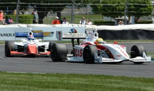 Luiz Razia (7) on his way to is first Indy Lights victory Saturday at Indianapolis Motor Speedway. (Dave Heithaus Photo)