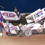 Donny Schatz (15) makes contact with Logan Schuchart during Saturday's World of Outlaws STP Sprint Car Series feature at Tri-State Speedway. (Doug Vandeventer Photo)