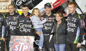 Daryn Pittman enjoys victory lane with his family and the Kasey Kahne Racing crew Friday at Williams Grove. (Dennis Bicksler photo)