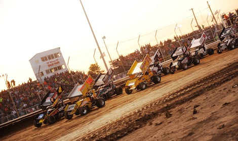 The World of Outlaws dash lines up Friday at Attica (Ohio) Raceway Park. (Julia Johnson photo)
