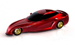 An artist rendering of the DeltaWing street car.
