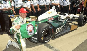 Ed Carpenter celebrates after winning his second Indianapolis 500 pole Sunday at Indianapolis Motor Speedway. (Ginny Heithaus Photo)