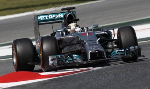 Lewis Hamilton stayed in control of his Formula One competition by leading Friday's two practice sessions at Circuit de Catalunya. (Mercedes Photo)