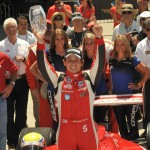 Gabby Chaves celebrates after winning the Indy Lights Freedom 100 Friday at Indianapolis Motor Speedway. (Ginny Heithaus Photo)