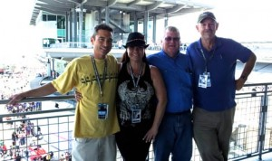 From left to right: Scott Jackson, Angela Savage's husband; Angela Savage; Paul Powell and Bruce Savage at Indianapolis Motor Speedway on Carb Day. (Linda Mansfield Photo)