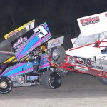 Larry Howery (17) gets three out of his four wheels off the ground during Friday's ASCS Gulf South Region event at Golden Triangle Raceway Park. (RonSkinnerPhotos.com Photo)