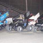 The ASCS Gulf South Region field prepares to start the feature Saturday at Battleground Speedway in Texas. (RonSkinnerPhotos.com Photo)