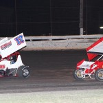 Larry Howrey (17) and Wes Miller during Saturday's ASCS Gulf South Region feature at Battleground Speedway in Texas. (RonSkinnerPhotos.com Photo0