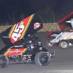 Johnny Herrera (45x) battles Channin Tankersley during Sunday's ASCS Gulf South Region event at Golden Triangle Raceway Park. (RonSkinnerPhotos.com Photo)