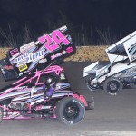 Brandi Jass (24) about to be lapped by Brandon Berryman during Sunday's ASCS Gulf South Region event at Golden Triangle Raceway Park in Texas. (RonSkinnerPhotos.com Photo)