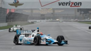 James Hinchcliffe rounds a turn during qualifying for Saturday's Indianapolis Grand Prix. (John Cote/Indycar photo)