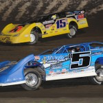 Brandon Sheppard (b5) and Brian Birkhofer during Friday's Lucas Oil Late Model Dirt Series event at Tri-City Speedway in Illinois. (Don Figler Photo)