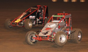 Damion Gardner (4) on his way to victory in Saturday's AMSOIL USAC-CRA Sprint Car Series event at Perris (Calif.) Auto Speedway. (Doug Allen Photo)