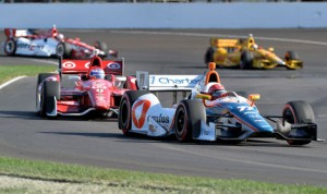Simon Pagenaud (77) had just enough fuel to win Saturday's Grand Prix of Indianapolis at Indianapolis Motor Speedway. (Dave Heithaus Photo)