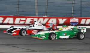 Garrett Grist and Spencer Pigot battle for position Saturday night at Lucas Oil Raceway at Indianapolis. (Ginny Heithaus photo)