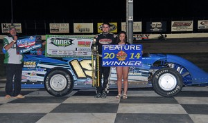Ryan Gustin won Saturday's MARA/NCRA late-model feature at Dodge City Raceway Park. (The Wheatley Collection Photo)