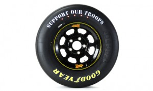 """The """"Support Our Troops"""" message will once again appear on Goodyear's tires during the NASCAR Memorial Day weekend at Charlotte Motor Speedway. (Goodyear Image)"""
