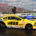 Jeg Coughlin Jr. (near lane) races Allen Johnson during NHRA Pro Stock action at Heartland Park Topeka Sunday. (Ivan Veldhuizen Photo)