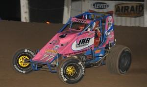 J.J. Yeley won Friday's WAR sprint car race at Valley Speedway. (Ken Simon photo)