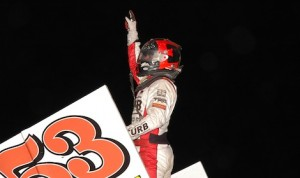 Christopher Bell celebrates his first World of Outlaws STP Sprint Car Series victory Wednesday night at Jacksonville Speedway. (Mark Funderburk photo)