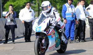 Bruce Anstey heads out on to the Isle of Man TT course during SES TT Zero practice Saturday. (IOM TT Photo)