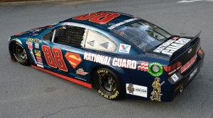 Dale Earnhardt Jr. will drive a Superman-themed No. 88 National Guard Chevy Sunday at Charlotte (N.C.) Motor Speedway. (Hendrick Motorsports photo)