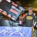 Terry Gray stands in victory lane after winning Friday's USCS Outlaw Thunder Tour event at 411 Motor Speedway in Seymour, Tenn. (Chris Seelman Photo)