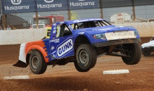 Arie Luyendyk Jr., seen here during the TORC event held at The Dirt Track at Charlotte in April, will compete in the Formula Off-Road event this weekend in Detroit. (Adam Fenwick Photo)