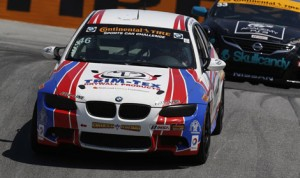 Trent Hidman and John Edwards put the Fall-Line Motorsports BMW in victory lane during Saturday's Continental Tire SportsCar Challenge event at Mazda Raceway Laguna Seca. (Michael Levitt/LAT Photo)