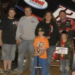 Jerrod Hull stands in victory lane with his family and crew after winning Saturday's MOWA Sprint Car Series event at Clay County Speedway. (Mark Funderburk Photo)