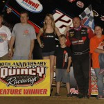 Jerrod Hull in victory lane after winning Sunday's Midwest Open Wheel Ass'n feature at Quincy Raceways. (Mark Funderburk Photo)