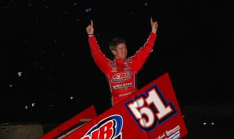 Paul McMahan won Saturday's World of Outlaws STP Sprint Car Series feature at Tri-State Speedway. (Mark Funderburk photo)