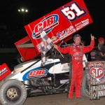 Paul McMahan celebrates after winning Saturday's World of Outlaws STP Sprint Car Series event at Indiana's Tri-State Speedway. (Mark Funderburk Photo)