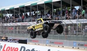 E.J. Viso won Saturday's Menards Formula Off-Road Presented by TRAXXAS Stadium Super Truck race at Detroit's Belle Isle.